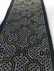 テーブルセンター 20x67cm  刺繍 緑キルト裏付  アマゾン・シピボ族の泥染め