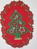 ビーズ刺繍したクリスマスツリーの壁飾り