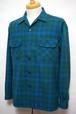 美品 1960's PENDLETON オンブレチェック ループカラーボックスシャツ ブルー×グリーン 表記(M) ペンドルトン