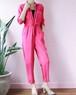 fusha pink quarter sleeve jump suit