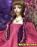 1本三つ編みヘアゴム 紫×ピンク