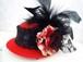 赤薔薇×黒羽根レースミニハット(赤)