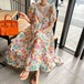 【dress】輝いて超人気 ! レース切り替え透かし彫り花柄ワンピースゆったり