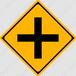 【イラスト】┼形道路交差点ありの 交通標識