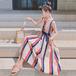 【dress】美人度アップストライプ柄ノースリーブオシャレデートワンピース N-0154