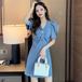 【dress】好感度UPVネックボタンデザインデートワンピースゆったり2色着瘦せ M-0528