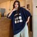 新作 オシャレ 可愛い ラウンドネック 半袖 プリント柄 大きめ ゆったり カジュアル 着痩せ Tシャツ・トップス