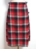 1980's スコットランド製プリーツ巻きスカート 赤×黒 実寸(W71cm)