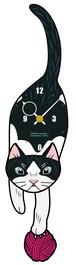 C-DC 白黒ハチワレ-猫の振り子時計