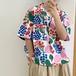 オシャレ 夏 可愛い 折り襟 半袖 カジュアル カラーブロック シャツ・トップス