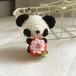 【受注生産】赤イチゴ・白黒パンダさん*鈴付きイヤホンジャックストラップ