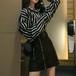 セットアップ ストライプシャツ+PUレザースカート ミニ丈 大きいサイズ おしゃれ i1227