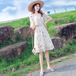 【dress】人気アイテム ! Vネックフレアスリーブ花柄ワンピースゆったり M-0348