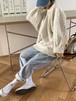ケーブルニット オーバーサイズ ワイドスリーブ ビッグシルエット ラウンドネック セーター 秋冬 長袖 ルーズ カジュアル