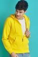 P1416メンズ ジップアップ パーカー トレーナー スウェットシャツ ゆったり 大きいサイズ レディース 無地 男女兼用 黄色