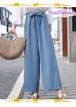 シンプルきれいめファッションに◆ウエストリボンのガウチョパンツ