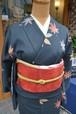 上品な秋の装い紺地に紅葉柄☆小紋