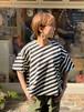 WOMENS:ESTROISLOSE【エストゥロワルーズ】スラッシュボーダーのプルオーバー(ブラック/FREEサイズ)
