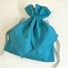 ブルーガーデン コットンリネン リボン巾着 新色ターコイズブルー