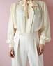 70s off white silk ribbon blouse