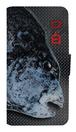 魚拓スマホケース【口白(クチジロ)・手帳型・背景:黒・送料無料】
