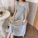 【dress】清新気質アップスクエアネックチュニック花柄ワンピースゆったり2色