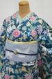 ボタニカル☆ろうけつ染めブルーグリーンの小紋