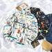 可愛い 新作 オシャレ POLOネック 長袖 プリント柄 落書き カラーブロック カジュアル トレンド シャツ・トップス