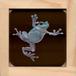 【原画】透明板アート:碧いニホンアマガエル2 (Tree frog)