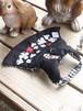 うさぎハーネス リフルシャッフル刺繍トランプリード付 男の子向けSサイズ黒