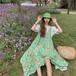 オシャレ 夏 新作 レース ブラウス 半袖 吊りスカート 花柄 可愛い 2点セット セットアップ
