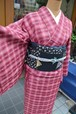 花織☆ピンクのグラデーション格子【しつけ付】