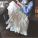 【送料無料】アシンメトリー フリルスカート ホワイト 白 フレアスカート コットン ロング エレガント