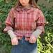 (LOOK) check peplum frill blouse