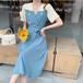 【dress】レディースファッション切り替え着痩せデートワンピースゆったり2色