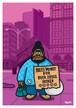《山本周司 イラストポストカード》CY-16/ 看板を持つ男