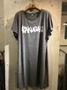 RAKUGAKI GRAFFITI Logo Dolman Sleeve One Piece Dark Gray x White
