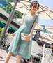 【送料無料】Aラインドレス ひざ丈 パフスリーブ 立体レース フェミニン ガーリー 結婚式 パーティ ドレスアップ(B324)