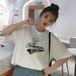 【トップス】キュート無地ポリエステルラウンドネックレ半袖ディーストップスTシャツ27279323