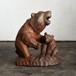 親子熊/威嚇する親熊とのんきな子熊