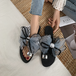 レディース サンダル りぼん ガーリー フェミニン 大きいサイズ 履きやすい 夏物 親指リング 黒 ブラック グレー 個性的 かわいい おしゃれ 韓国