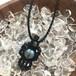 天然石のマクラメ編みペンダントトップ/螺旋(ブラック系×ラブラドライト)