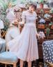 ロング丈ドレス モックネック ギャザー フリル 半袖 レース 刺繍 カラードレス ピンク パープル フェアリー フェミニン キュート ガーリー エレガント 上品 大人 女子 フォーマル 結婚式 二次会 お呼ばれ パーティ 10代 20代 30代(B335)