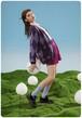 MELTING SADNESSダイヤ柄ニットカーディガンVネックポケット付きターコイズ/オレンジ/紫