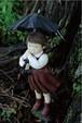 安部朱美ポストカード:「雨の日のお迎え」