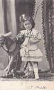 古絵葉書エンタイア「木馬に少女」(1900年代初頭)