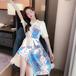 【dress】好感度UPカジュアルプリント切り替えワンピースゆったり2色大活躍