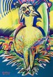 1点もの絵画「接ぎ木と実生 〜接ぎ鳥〜」恒星の水彩画(ガッシュ)