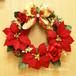【送料無料】【クリスマス】クリスマスリース 32cm 赤バラ&ポインセチア・シルクフラワー(造花)リース FL-CH-449