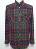 1980~90's Wrangler タータンチェックウエスタンライトネルシャツ 緑×紺×赤 表記(M) ラングラー